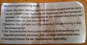 Taschenascher BDA